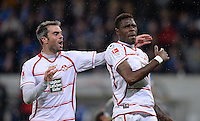 Fussball 1. Bundesliga 2012/2013: Relegation  Bundesliga / 2. Liga  TSG 1899 Hoffenheim  - 1. FC Kaiserslautern          23.05.2013 Marc Torrejon (li) und Mohamadou Idrissou (re, beide 1. FC Kaiserslautern) jubeln nach dem 1:2