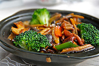 Chinese traditional foods clay pot wild mushrooms and vegetable photo
