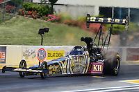May 19, 2012; Topeka, KS, USA: NHRA top fuel dragster driver Khalid Albalooshi during qualifying for the Summer Nationals at Heartland Park Topeka. Mandatory Credit: Mark J. Rebilas-