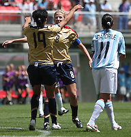 Chile, Chillan:,  Usa's Sydney Leroux(l) and Becky Edwards(r) (C) soccer players celebrate a goal against Argentine's team during the second match of the Fifa U-20 Women´s World Cup at the Nelson Oyarzún stadium in Chillán , on November 22 2008. Photo by Grosnia/ISIphotos.com