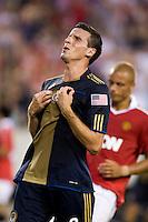 Sebastien Le Toux. Manchester United defeated Philadelphia Union, 1-0.