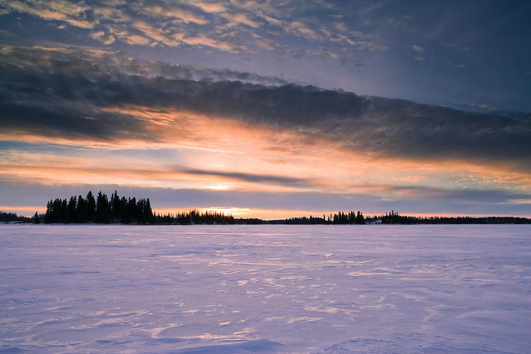 Sunset at Astotin lake at Elk Island National Park