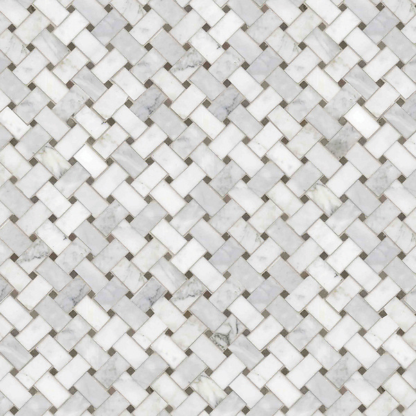 Basketweave 3 x 5 cm, a hand-cut stone mosaic, shown in polished Calacatta Tia and honed Montevideo.