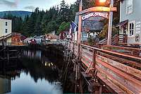 Buildings on pilings above Ketchikan Creek, historic Creek Street, Ketchikan, Alaska