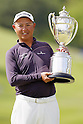 Toru Taniguchi, MAY 13, 2012 - Golf : Toru Taniguchi poses his victory trophy on the 18th green during the PGA Championship Nissin Cupnoodles Cup 2012 victory ceremony at Karasuyamajo Country Club, Tochigi, Japan. (Photo by Yusuke Nakanishi/AFLO SPORT) [1090]
