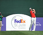 Robert Karlsson tees off on the 17th hole at the PGA FedEx St. Jude Classic at TPC Southwind in Memphis, Tenn. on Sunday, June 12, 2011. Harrison Frazar won the tournament on the third playoff hole against Robert Karlsson. The victory was Frazar's first ever on the PGA tour.