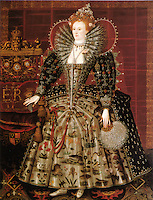 The &quot;Hardwick Hall&quot; portrait of Elizabeth I of England.<br /> Date <br /> <br /> c. 1599 (date from Roy Strong, Gloriana, 1987)- Daughter of King Henry VIII of England and his second wife, Anne Boleyn, Elizabeth I ascended the throne of England on the death of her sister Mary. She reigned from 1558-1603.-