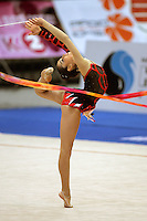 Anahi Sosa of Argentina pirouettes with ribbon during qualifications at 2006 Deriugina Cup Grand Prix in Kiev, Ukraine on March 17, 2006. (Photo by Tom Theobald)