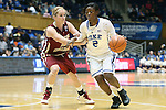 27 January 2013: Duke's Alexis Jones (2) and Boston College's Kerri Shields (10). The Duke University Blue Devils played the Boston College Eagles at Cameron Indoor Stadium in Durham, North Carolina in an NCAA Division I Women's Basketball game. Duke won the game 80-56.