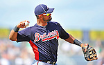 13 March 2012: Atlanta Braves infielder Ernesto Mejia in action during a Spring Training game against the Miami Marlins at Roger Dean Stadium in Jupiter, Florida. The two teams battled to a 2-2 tie playing 10 innings of Grapefruit League action. Mandatory Credit: Ed Wolfstein Photo