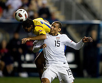 Jermaine Jones (15) of the USMNT fights for a header with Jhon Viafara (15) of Colombia during an international friendly at PPL Park in Chester, PA.  The U.S. tied Columbia, 0-0.