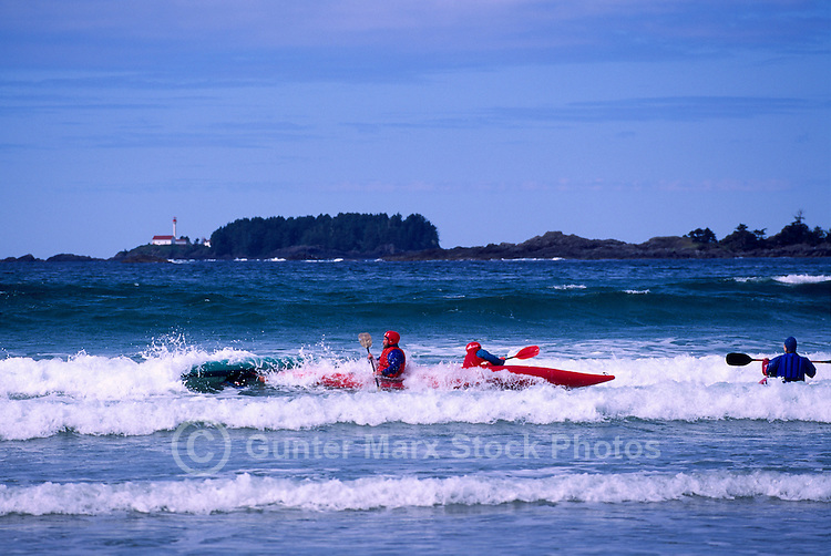 West Coast, Vancouver Island, BC, British Columbia, Canada - Kayakers kayaking on Pacific Ocean near Tofino, Summer
