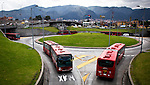 Buses used for the public and massive transportation known as Transmilenio are seen on their road in Bogota, Colombia. 1/03/2012.  Photo by Eduardo Munoz Alvarez / VIEWpress.
