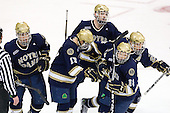Anders Lee (Notre Dame - 9), Billy Maday (Notre Dame - 17), Riley Sheahan (Notre Dame - 4), T.J. Tynan (Notre Dame - 18), Calle Ridderwall (Notre Dame - 22) - The University of Notre Dame Fighting Irish defeated the Merrimack College Warriors 4-3 in overtime in their NCAA Northeast Regional Semi-Final on Saturday, March 26, 2011, at Verizon Wireless Arena in Manchester, New Hampshire.