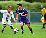 11 September 2009: University of Portland Pilots' defenseman/midfielder Keith Grubisich (5), a Freshman from San Jose, CA, in action against University of Vermont Catamount backfielder/midfielder Seth Rebeor (22), a Freshman from Fairfax, VT, in the first round of the 2009 Morgan Stanley Smith Barney Soccer Classic held at Centennial Field in Burlington, Vermont. The Catamounts and Pilots battled to a 1-1 double-overtime tie. Mandatory Photo Credit: Ed Wolfstein Photo