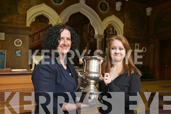 Elaine O'Brien Joint winner of the Kerry Section Soroptimists girls public speaking competition with tracher Una Flynn at Brookfield College on Thursday.