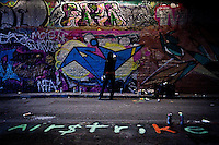 Writer - 2011<br /> <br /> London, 27/11/2011. &quot;The Tunnel&quot; (Leake Street Tunnel in Waterloo) was the stage of the photographic exhibition Writers  Pictures in a Tunnel by the photographers Brian David Stevens &amp; Marc Vall&eacute;e.
