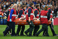 Amanaki Mafi of Japan is stretchered off the field after suffering an injury. Rugby World Cup Pool B match between Scotland and Japan on September 23, 2015 at Kingsholm Stadium in Gloucester, England. Photo by: Patrick Khachfe / Onside Images
