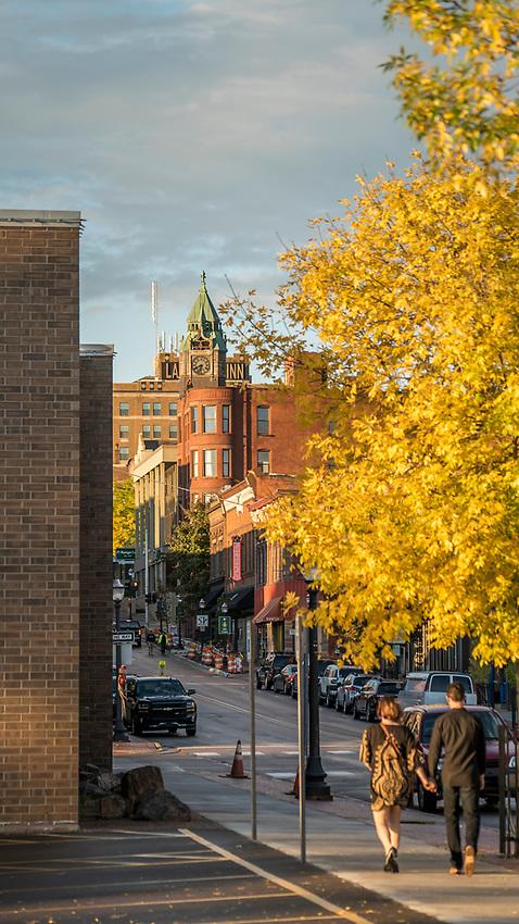 Fall color in downtown Marquette, Michigan.