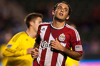 Chivas USA midfielder Nick LaBrocca (10) reacts to narrowly missing a goal. Chivas USA and Columbus Crew played to a 0-0 tie at Home Depot Center stadium in Carson, California on  April  9, 2011....