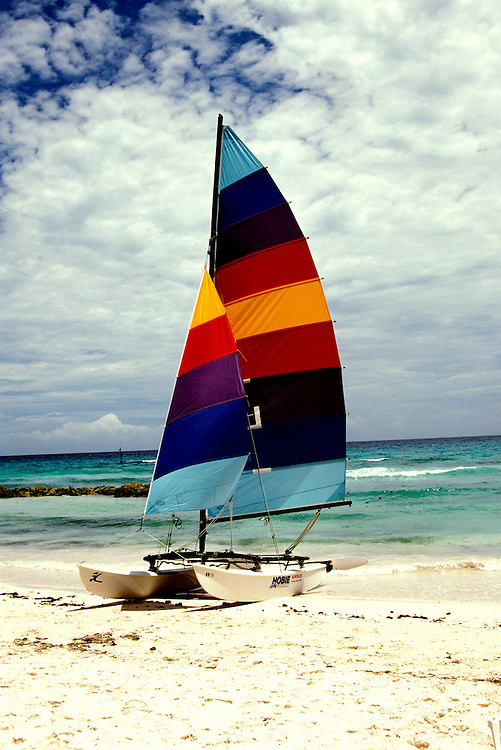 Barbados: Sailboat on South Beach.   Photo barbad103.Photo copyright Lee Foster, 510/549-2202, lee@fostertravel.com, www.fostertravel.com