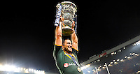 Picture by Simon Wilkinson/SWpix.com - 30/11/2013 - Rugby League - Rugby League World Cup Final - New Zealand v Australia - Old Trafford, Manchester, England - Australia captain Cameron Smith celebrates with the trophy.