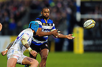 Aled Brew of Bath Rugby passes the ball. Aviva Premiership match, between Bath Rugby and Exeter Chiefs on December 31, 2016 at the Recreation Ground in Bath, England. Photo by: Patrick Khachfe / Onside Images