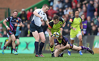 Leicester Tigers&rsquo; Jono Kitto tackled during todays game<br /> <br /> Photographer Rachel Holborn/CameraSport<br /> <br /> Anglo-Welsh Cup Final - Exeter Chiefs v Leicester Tigers - Sunday 19th March 2017 - The Stoop - London<br /> <br /> World Copyright &copy; 2017 CameraSport. All rights reserved. 43 Linden Ave. Countesthorpe. Leicester. England. LE8 5PG - Tel: +44 (0) 116 277 4147 - admin@camerasport.com - www.camerasport.com