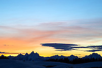 The Grand Tetons at sunset from Togwotee Pass on the north end of Jackson Hole Wyoming