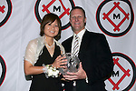 11 January 2008:  Mami Yamaguchi (l) of Florida State holds her 2007 Hermann Trophy with Missouri Athletic Club President, G. Scott Engelbrecht.....The 2007 Hermann Trophy was presented to the NCAA Division I female and male players of the year by the Missouri Athletic Club in St. Louis, Missouri.