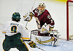 18 October 2009: Boston College Eagle goaltender John Muse, a Junior from East Falmouth, MA, in action during the second period against the University of Vermont Catamounts at Gutterson Fieldhouse in Burlington, Vermont. The Catamounts defeated the visiting Eagles 4-1. Mandatory Credit: Ed Wolfstein Photo