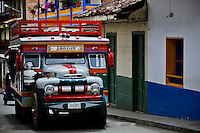 A local transportation called CHIVA arrives with people to the town of Jardin in Antioquia August 1, 2012. Photo by Eduardo Munoz Alvarez / VIEW.