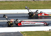 Jul 10, 2016; Joliet, IL, USA; NHRA top fuel driver Kyle Wurtzel (near) against Doug Kalitta during the Route 66 Nationals at Route 66 Raceway. Mandatory Credit: Mark J. Rebilas-USA TODAY Sports