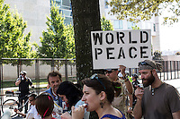 Occupy and labor activists gather in Marshall Park ahead of the Democratic National Convention on Monday, September 3, 2012 in Charlotte, NC.