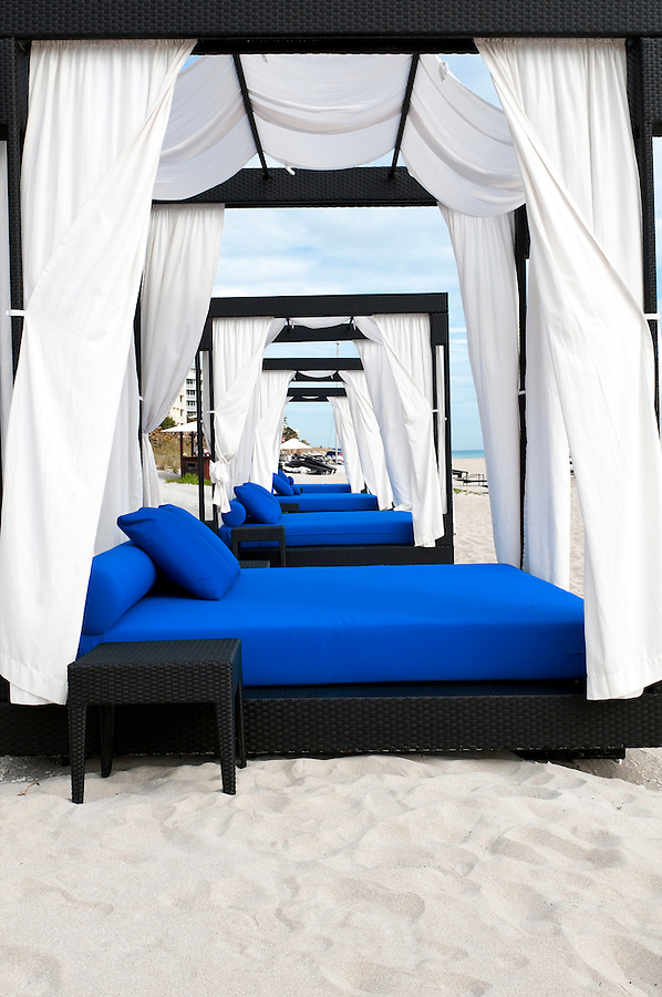 Comfortable canopies in the beach.