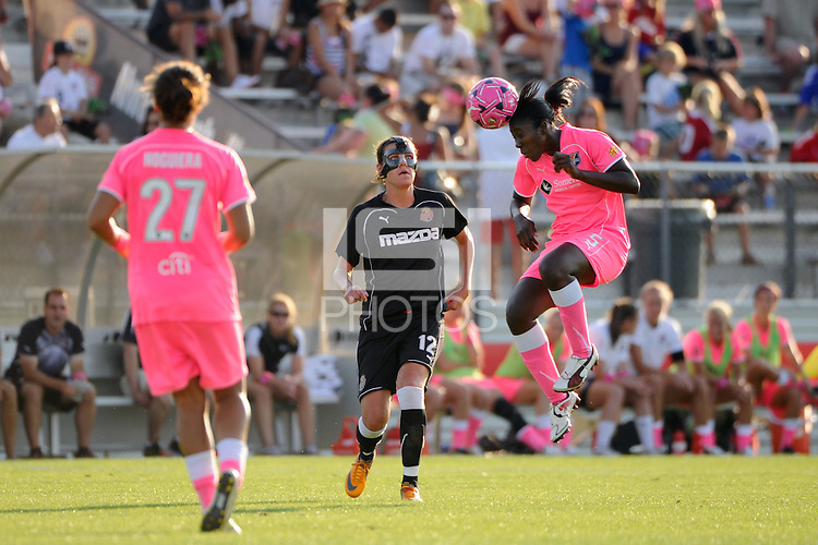 Anita Asante (5) of Sky Blue FC  goes up for a header. The Western New York Flash defeated Sky Blue FC 2-0 during a Women's Professional Soccer (WPS) match at Yurcak Field in Piscataway, NJ, on July 17, 2011.