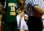 (12/2/09) - (Harrisonburg) .James Madison head coach Matt Brady reacts to a call during second-half action against Norfolk State in Harrisonburg on Wednesday. JMU won the game 72-64..(Pete Marovich/Daily News-Record).