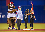 2 April 2016: Montreal Mayor Denis Coderre helps celebrate the 40th anniversary of the 1976 Olympic Games held in Montreal prior to an exhibition game between the Toronto Blue Jays and the Boston Red Sox at Olympic Stadium in Montreal, Quebec, Canada. The Red Sox defeated the Blue Jays 7-4 in the second of two MLB weekend games, which saw a two-game series attendance of 106,102 at the former home on the Montreal Expos. Mandatory Credit: Ed Wolfstein Photo *** RAW (NEF) Image File Available ***