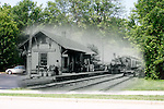 Menomonee Falls Train Depot original photo early 1900s placed in original location on Water Street