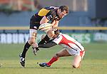 Joe Bearman spills the ball. Newport Gwent Dragons V Ulster, Magners League. © Ian Cook IJC Photography iancook@ijcphotography.co.uk www.ijcphotography.co.uk