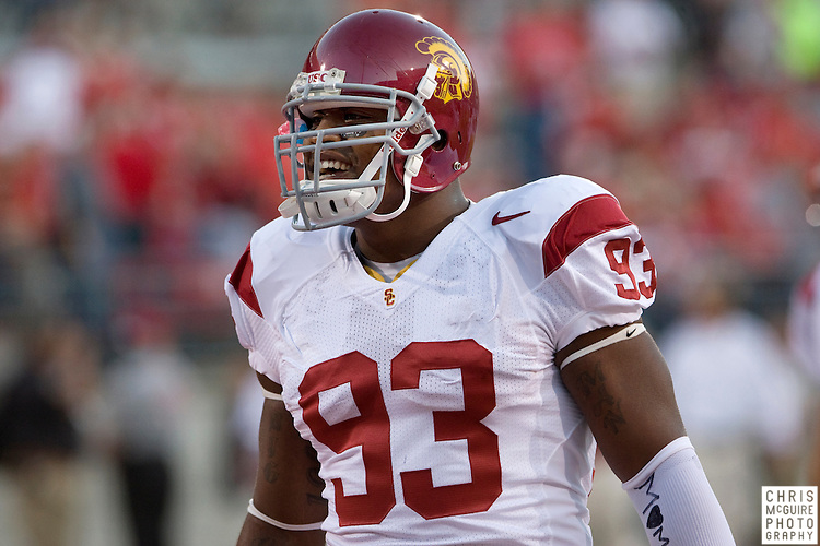 12 September 2009:  Football -- USC defensive end Everson Griffen gets ready for their game against Ohio State at Ohio Stadium in Columbus.  USC won 18-15.  Photo by Christopher McGuire.