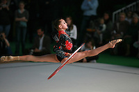Natalia Pichuzhkina of Russia split leaps with hoop at 2007 Coupe d' Opale tournament in Calais, France on April 01, 2007.