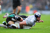 Dave Attwood of Bath Rugby crosses the try-line but the score is soon ruled out. Aviva Premiership match, between Exeter Chiefs and Bath Rugby on October 30, 2016 at Sandy Park in Exeter, England. Photo by: Patrick Khachfe / Onside Images