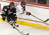 Jacob Bryson (PC - 18), Christopher Brown (BC - 10) - The Boston College Eagles defeated the visiting Providence College Friars 3-1 on Friday, October 28, 2016, at Kelley Rink in Conte Forum in Chestnut Hill, Massachusetts.The Boston College Eagles defeated the visiting Providence College Friars 3-1 on Friday, October 28, 2016, at Kelley Rink in Conte Forum in Chestnut Hill, Massachusetts.