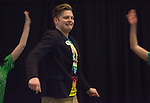 Joe Brenckle, a contestant in the Ava Nichols Faculty Pageant, performs a Bobcathon-inspired dance during the talent portion of the faculty pageant on Feb. 27, 2017.