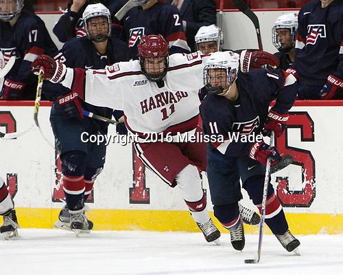 Ty Pelton-Byce (Harvard - 11), Jacob Tortora (NTDP - 11) - The Harvard University Crimson defeated the US National Team Development Program's Under-18 team 5-2 on Saturday, October 8, 2016, at the Bright-Landry Hockey Center in Boston, Massachusetts.