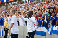 Jozy Altidore celebrates his goal, USA 2-1 over El Salvador in a CONCACAF World Cup qualifying match at Rio Tinto Stadium, in Sandy Utah, Saturday, September 5, 2009.
