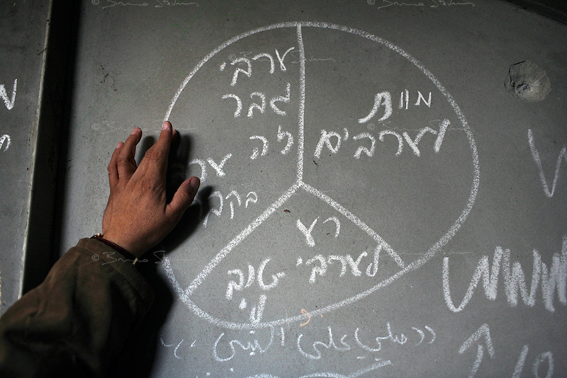 Zeitoun, Gaza Strip, Jan 19 2009.Racist graffitis written by the Israeli soldiers..The Israeli army destroyed a dozen houses belonging to the Samouni clan, killing 29 innocent members of the family; then used the remaining 3 houses for almost two weeks as a fortified firing positions towards the southern side of Gaza city..