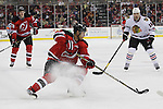 Mar 27; Newark, NJ, USA; New Jersey Devils right wing Dainius Zubrus (8) skates with the puck during the second period of their game against the Chicago Blackhawks at the Prudential Center.