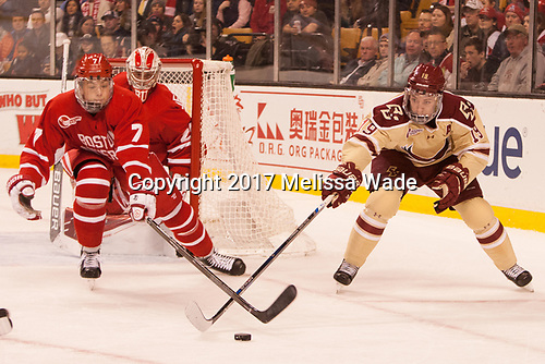 Charlie McAvoy (BU - 7), Ryan Fitzgerald (BC - 19) - The Boston University Terriers defeated the Boston College Eagles 3-1 in their opening Beanpot game on Monday, February 6, 2017, at TD Garden in Boston, Massachusetts.